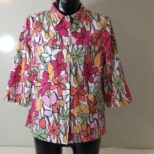 Tanjay White Floral Jacket 1970's Vibe